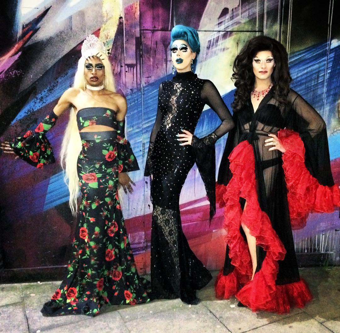 Season 3 Winner and HU favourite Tayce, Host Meth and Head Judge Vanity von Glow at Season 4 of Not Another Drag Competition Final! Meth is wearing Bang London the Official Sponsor of NADC S4